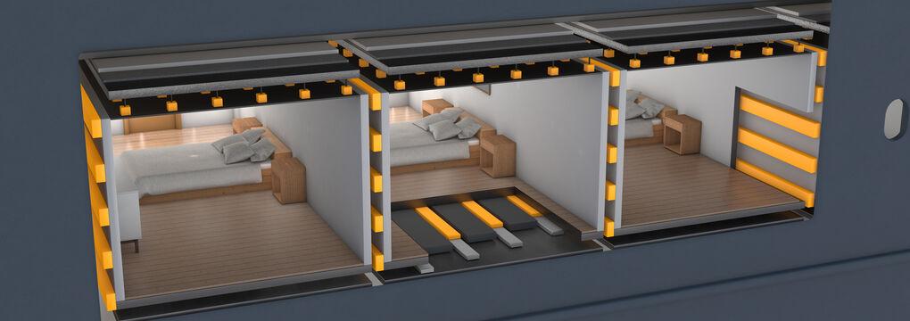 Illustration Decoupling a ship cabin