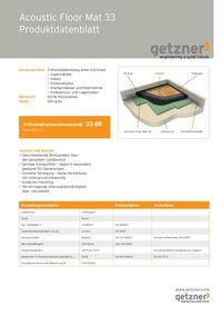 Acoustic Floor Mat 33 Produktionsdatenblatt