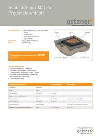 Acoustic Floor Mat 26 Produktionsdatenblatt