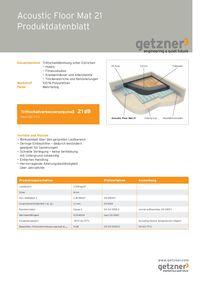 Acoustic Floor Mat 21 Produktionsdatenblatt
